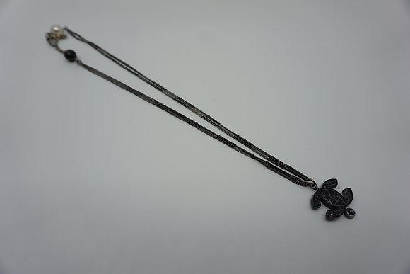 シャネル ネックレス ロゴ ブラック パール