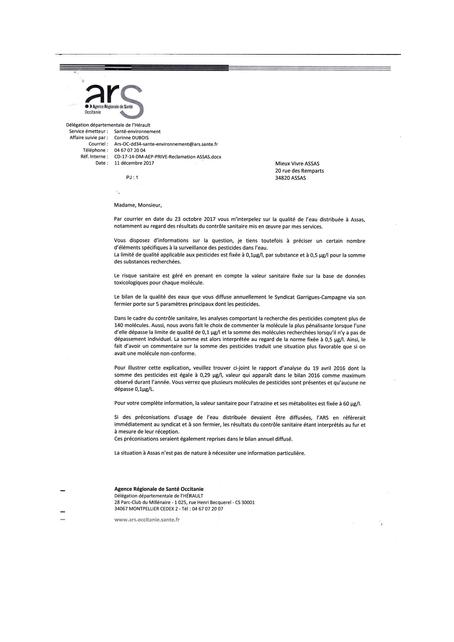 Réponse Agence Régional de Santé