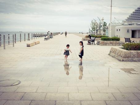 神戸メリケンパーク 噴水の遊び場♪