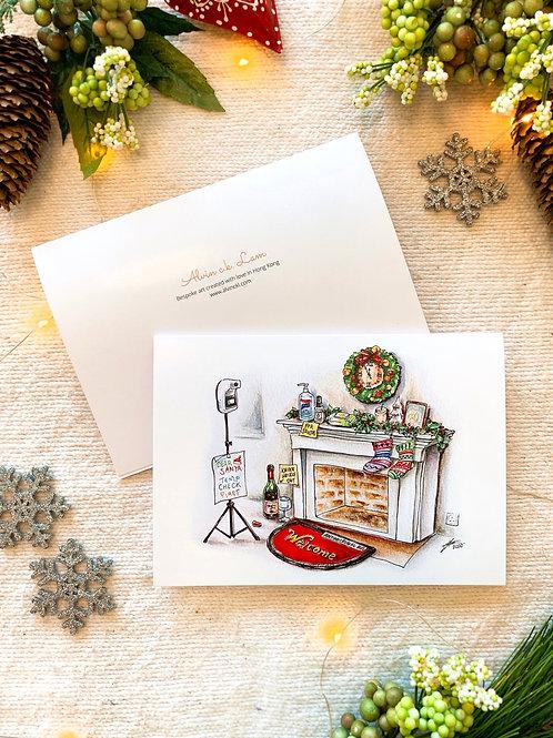 "XMAS CARD | ""Welcome Santa Down the Chimney"""