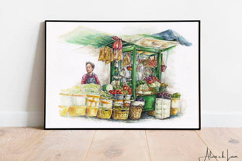 LIMITED PRINT | So's Vegetable Stall