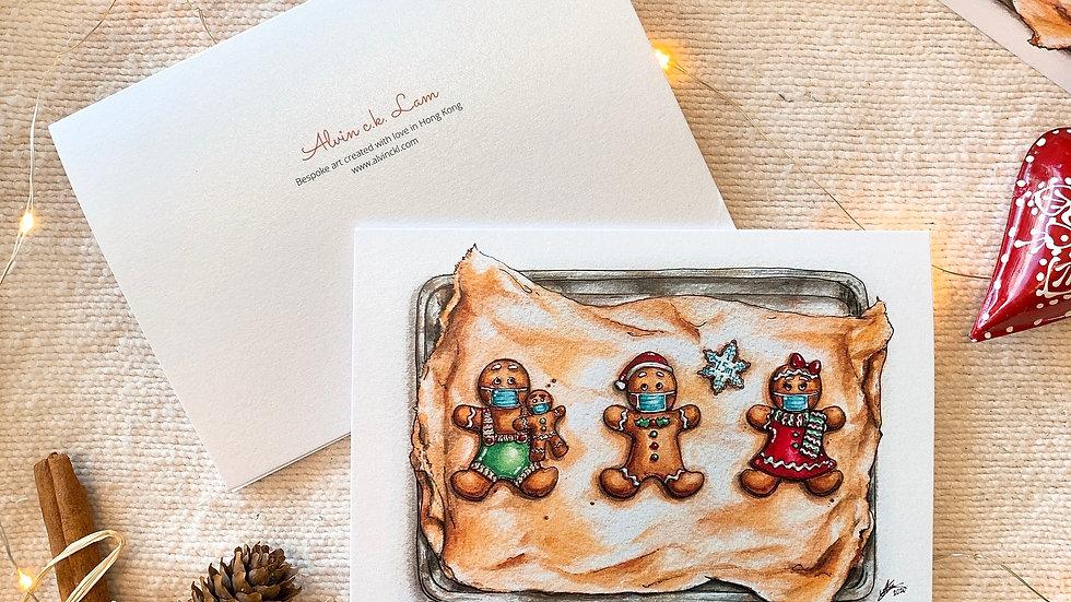 "XMAS CARD   ""Gingerbread Men in Masks"""