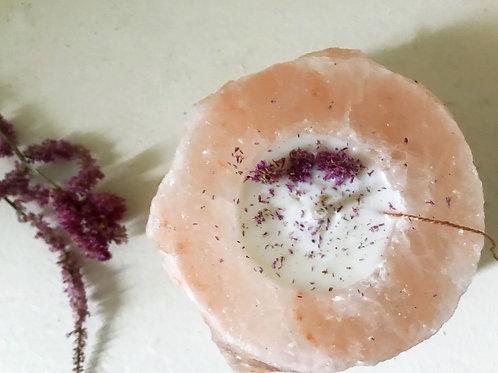 Bougie | sel rose Himalayen & fleurs d'amarante