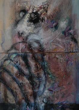 e Contrario (Aphorisms), 50x120cm-diptic, mixedmedia on canvas, 2018