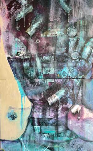 Mystreous, 50x100cm, 50x50cm -diptych, mixedmedia  on canvas, 2021