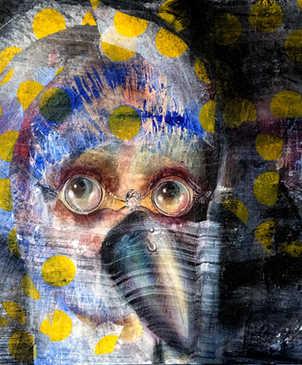 Bird's Eyes View, 50x50cm, mixed media on canvas, 2018