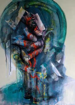 Disengagement, 70x90cm, mixed media on canvas, 2019