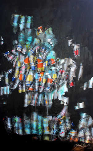 Oranje, 70x100cm, mixedmedia on canvas, 2021