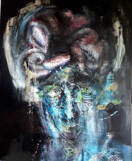Freudian Moon, 80x100cm, mixed media on canvas, 2017