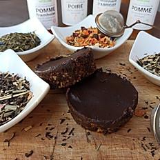 Brownie végétal sans cuisson et sorbet