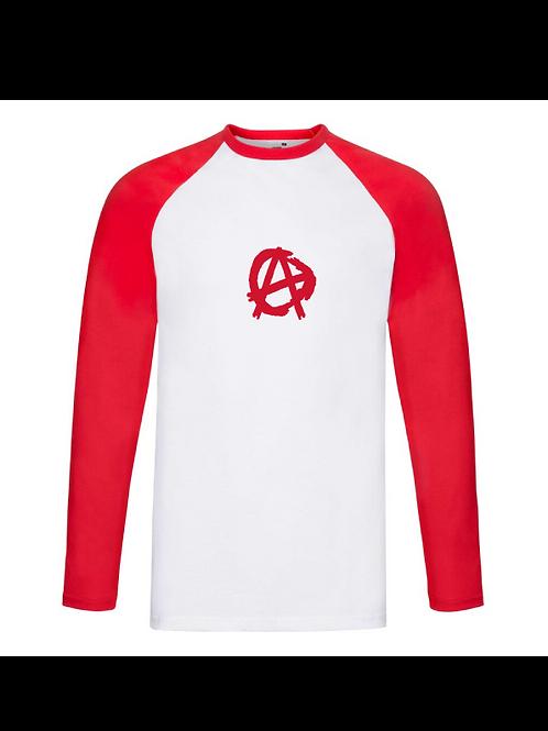 Anarchy Longsleeve Baseball Tee red