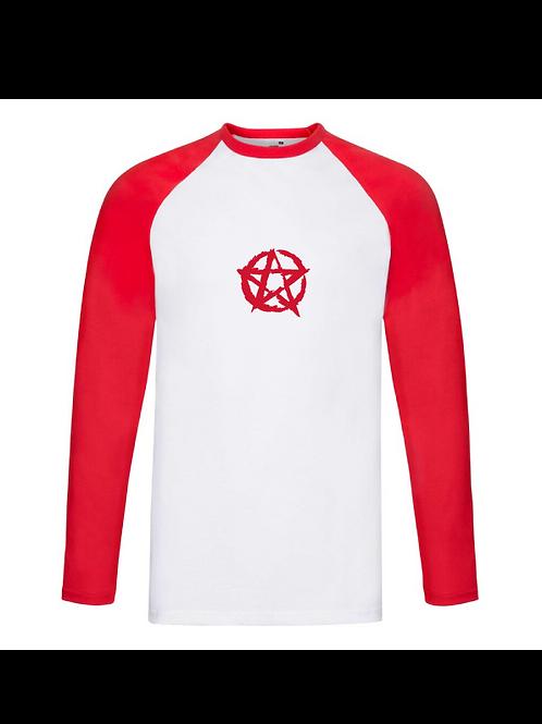 Pentagram Longsleeve Baseball Tee red