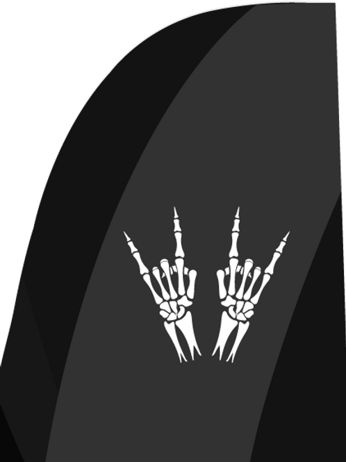 Skeleton Heavy Metal Horns Feather Flag