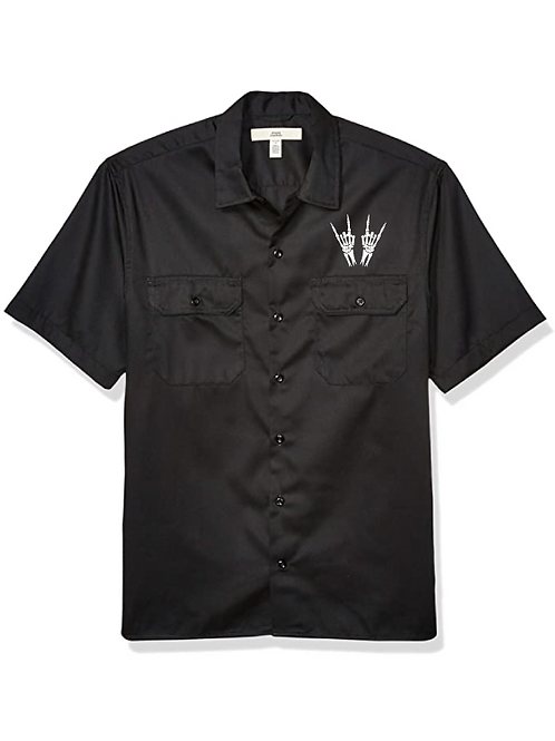 Skeleton Heavy Metal Horns Classic Work Shirt