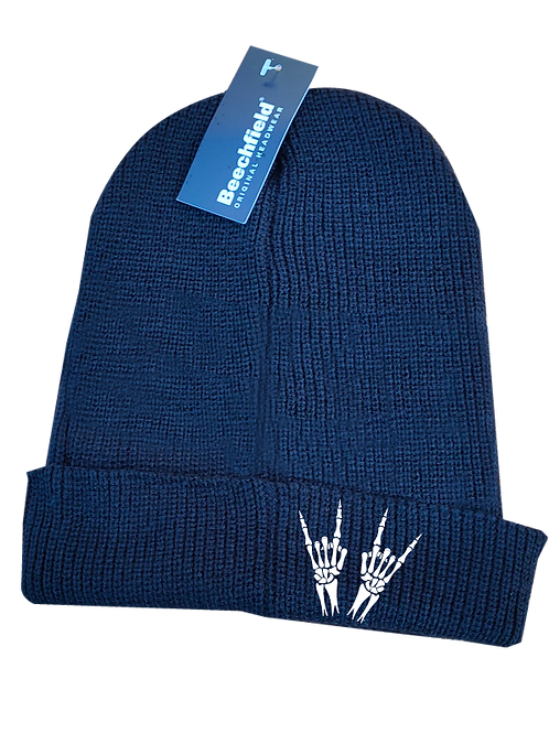 Heavy Metal Skeleton Horns Beanie Hat white logo
