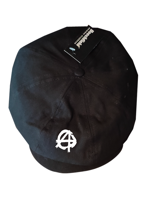 Anarchy Newsboy Cap white logo