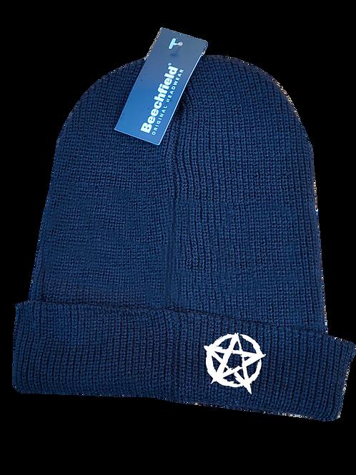 Pentagram Beanie hat white logo