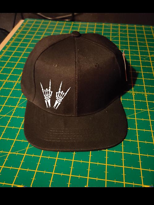 Skeleton Heavy Metal Horns Snapback Baseball Hat black