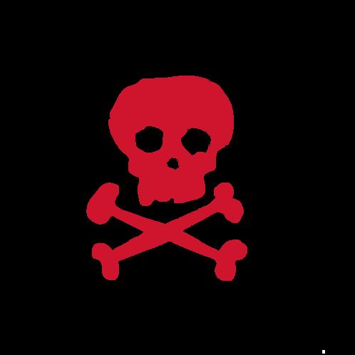 SkullnCrossBones Sticker red