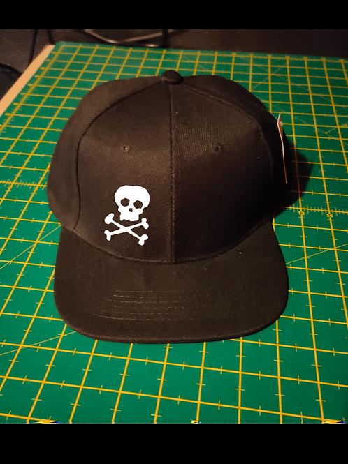 SkullnCrossbones Snapback Baseball Hat black