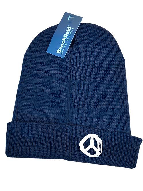 Peace Beanie Hat white logo