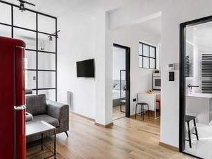 Red fridge apartment