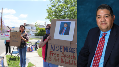 In response to water contamination, constituents protest Santa Fe Springs official