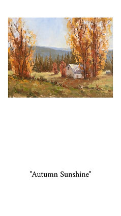 golden colors of Fall captured on the canvas. landscape painting. Framed in a vintage looking frame. Perfect painting for fall decor.