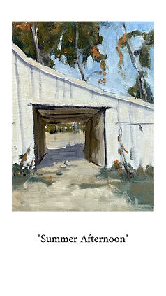 Oil painting of a white barn at a local farm.