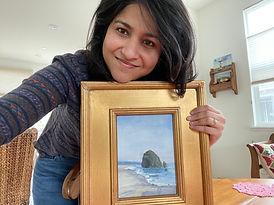 ria krishnan fine art, oil painting, haystack, cannon beach, home decor, vintage frames