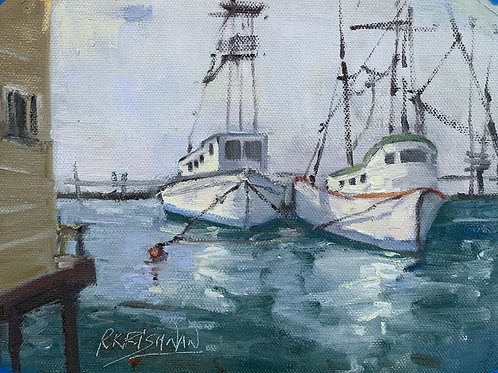 Boats at Half Moon Bay | 6x8, Oil on Canvas