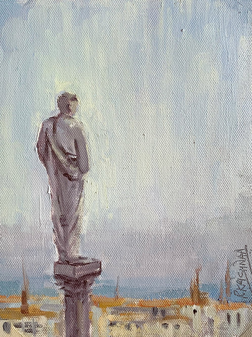 Watching over Milan | 6x8, Oil on Canvas
