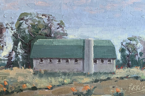 Barn with a Green Roof | 6x12 Oil on Linen