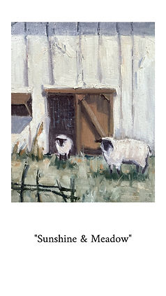Oil painting of sheep and a barn at a local farm.