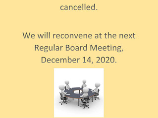 November Board Meeting Cancelled
