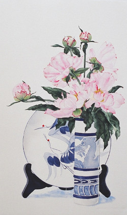 Peonies and Cranes