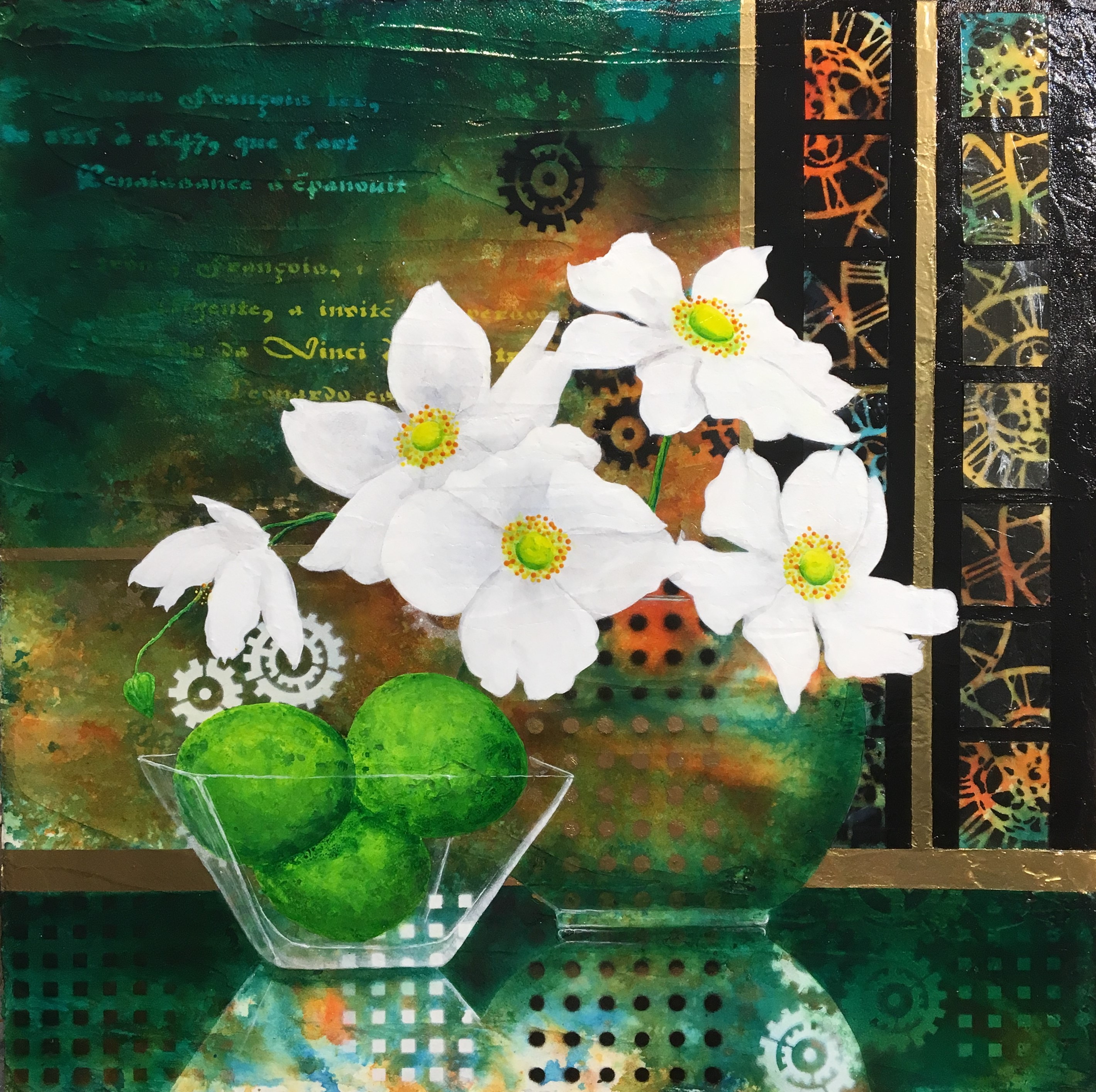 Limes and White Anemones