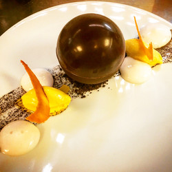 Passion fruit choclate sphere, coconut f