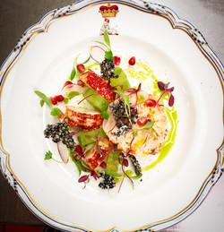 Lobster salad, compressed cucumber