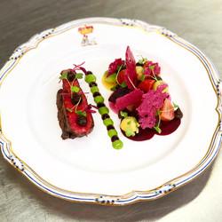 Kobe beef, textures of beetroot
