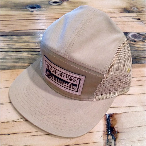 5 Panel Leather Patch Trucker Cap