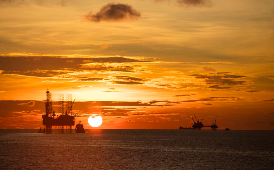 Jack up Oil Rig at Sunset