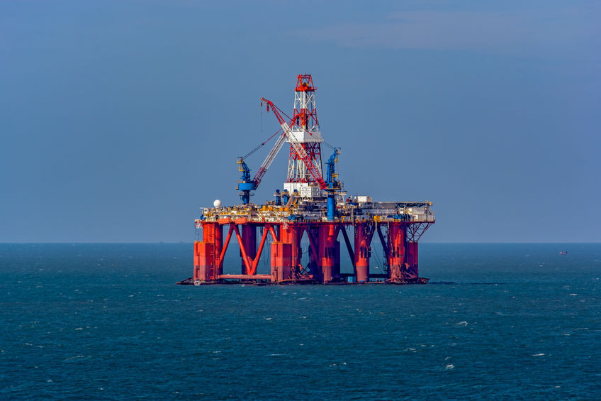 Oil and Gas Platform in Middle of Sea