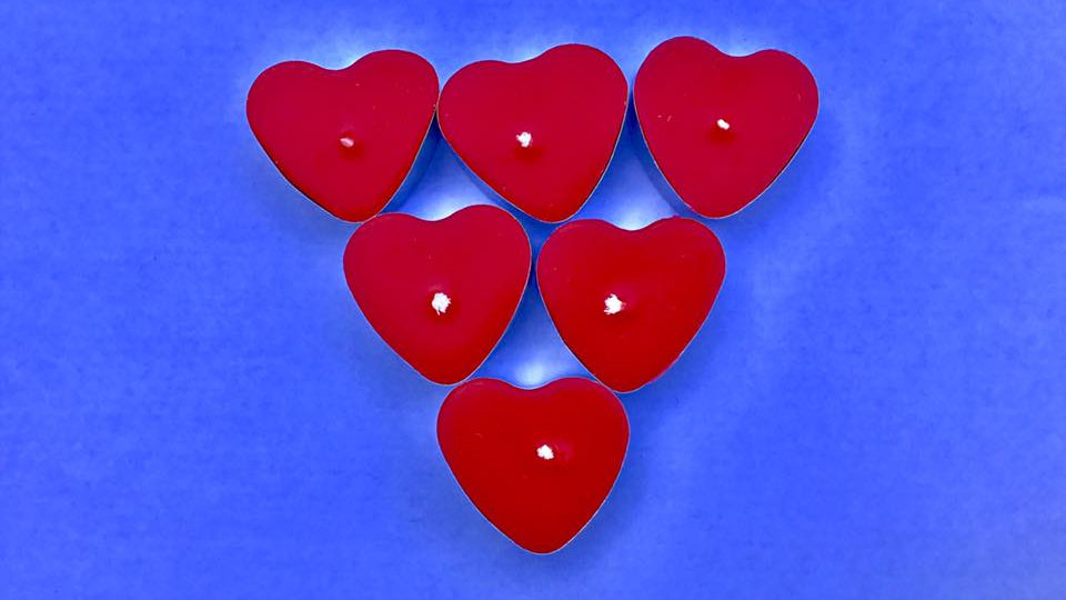 12 Unscented Red Hart  Tealights