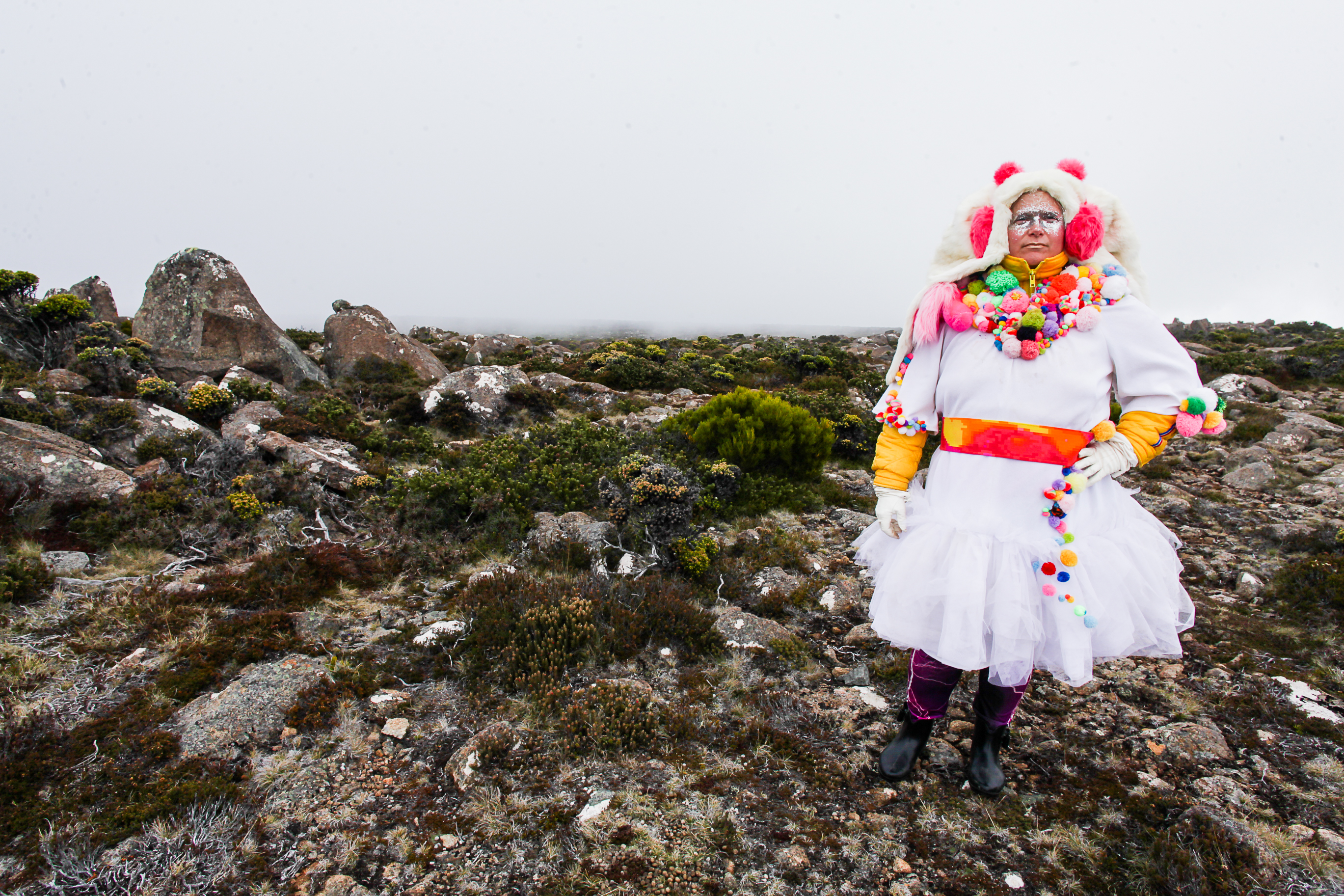 Artist Julia Drouhin atop Mt. Wellington, Hobart 2017. Photo By Lara van Raay