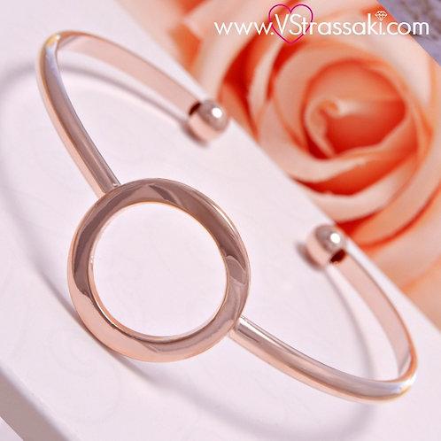 Βραχιόλι Χειροπέδα από Ορείχαλκο Dot Bracelet Ροζ Χρυσό 6095