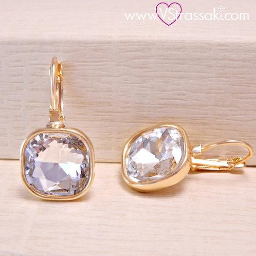 Σκουλαρίκια Κοντά 2.7cm με Λευκό Κρύσταλλο Χρυσό 3176