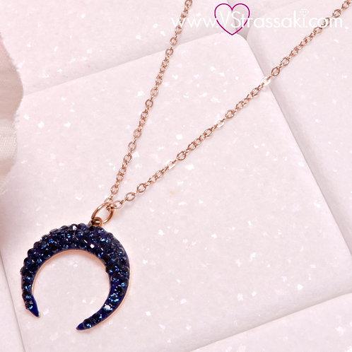 Ατσάλινο Κοντό Κολιέ Με Φεγγάρι Ροζ Χρυσό, Μπλε 4280