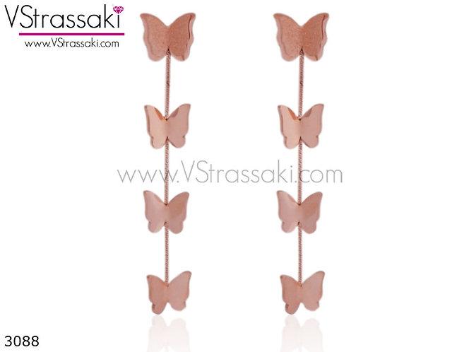 Σκουλαρίκια Μακριά 6cm ButterflyDream Ροζ Χρυσό Από Ανοξείδωτο Ατσάλι 3088