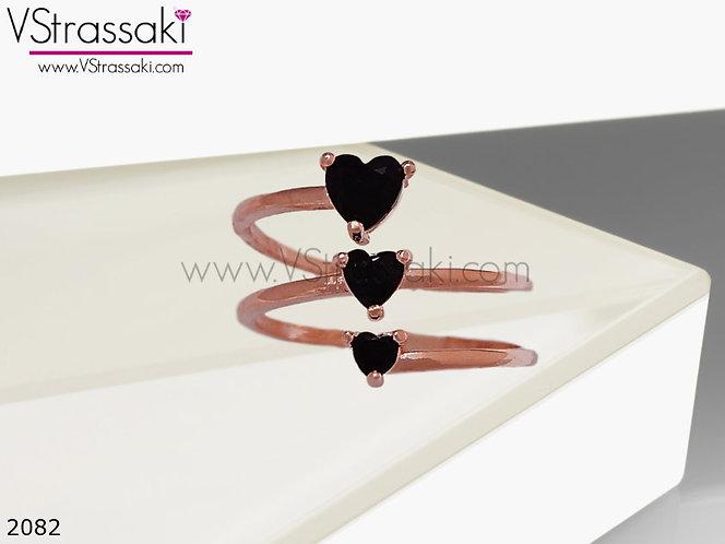 Δαχτυλίδι Μεταλλικό Με Καρδιές BlackHearts Ροζ Χρυσό 02082